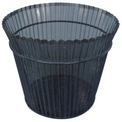 Large Mathieu Matégot Black Metal Waste Paper Basket, First Edition, 1950s