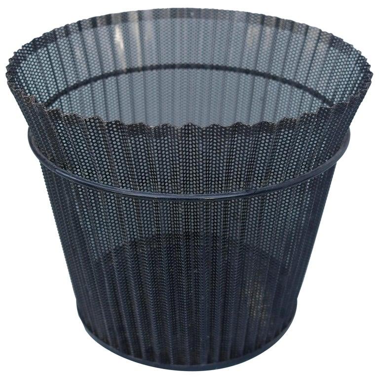 Large Mathieu Matégot Black Metal Waste Paper Basket, First Edition, 1950s For Sale