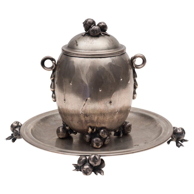 Vintage Silver Centrepiece and Tray by Luigi Genazzi, 1934-1944 For Sale