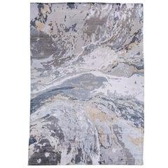 Contemporary Abstract Grey Silk Area Rug