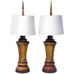 Pair of 19th Century Cambodian Wood Urn Table or Bedside Lamps