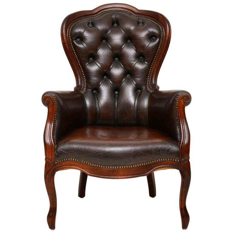 Antique Victorian Style Leather And Mahogany Armchair At 1stdibs