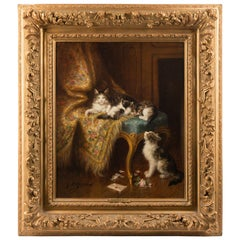 Oil Painting by 'Le Roy' of Cats Playing