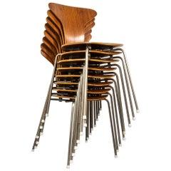 Set of Eight Arne Jacobsen Mosquito Chairs, Fritz Hansen, Denmark, 1950s