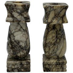 1960s Italian White and Black Marble Column Candlesticks, Pair