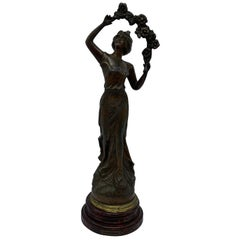 Early 20th Century French Cast-Metal 'Primèveres, Primrose' Figural Sculpture