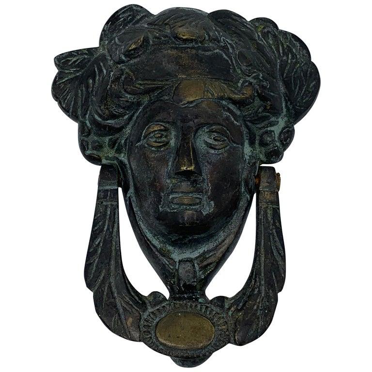 19th Century French Bronze Verdigris Female Figure Door Knocker For Sale