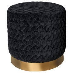 Diana Pouf Upholstered in Velvet Tresse with Brass Band Made in Britain
