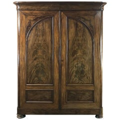 19th Century French Louis Philippe Period Burl Mahogany Armoire