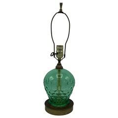 1960s Italian Green Art Glass Lamp with a Honeycomb Motif
