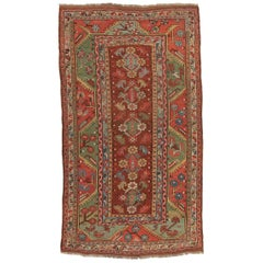 19th Century Red, Green and Blue Colors, Antique Turkish Melas Rug, circa 1890