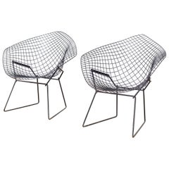 Pair of Vintage Midcentury Harry Bertoia for Knoll Black Diamond Wire Chairs