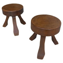 Pair of Oak Wooden Stools in Style of Charlotte Perriand