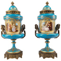 Pair 19th Century Sevres Style Vases