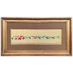 19th Century French Aubusson Floral Tapestry Gouache on Paper in Gilt Frame