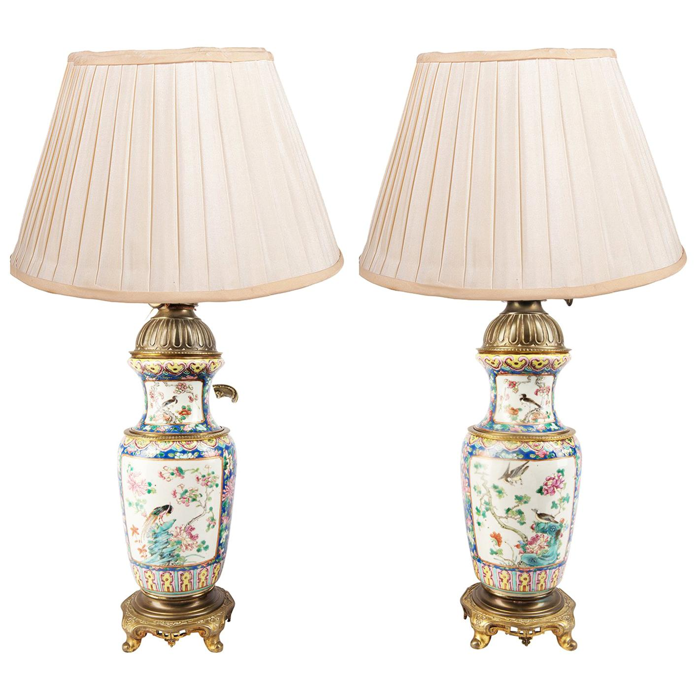Pair of 19th Century Chinese Famille Rose Vases or Lamps