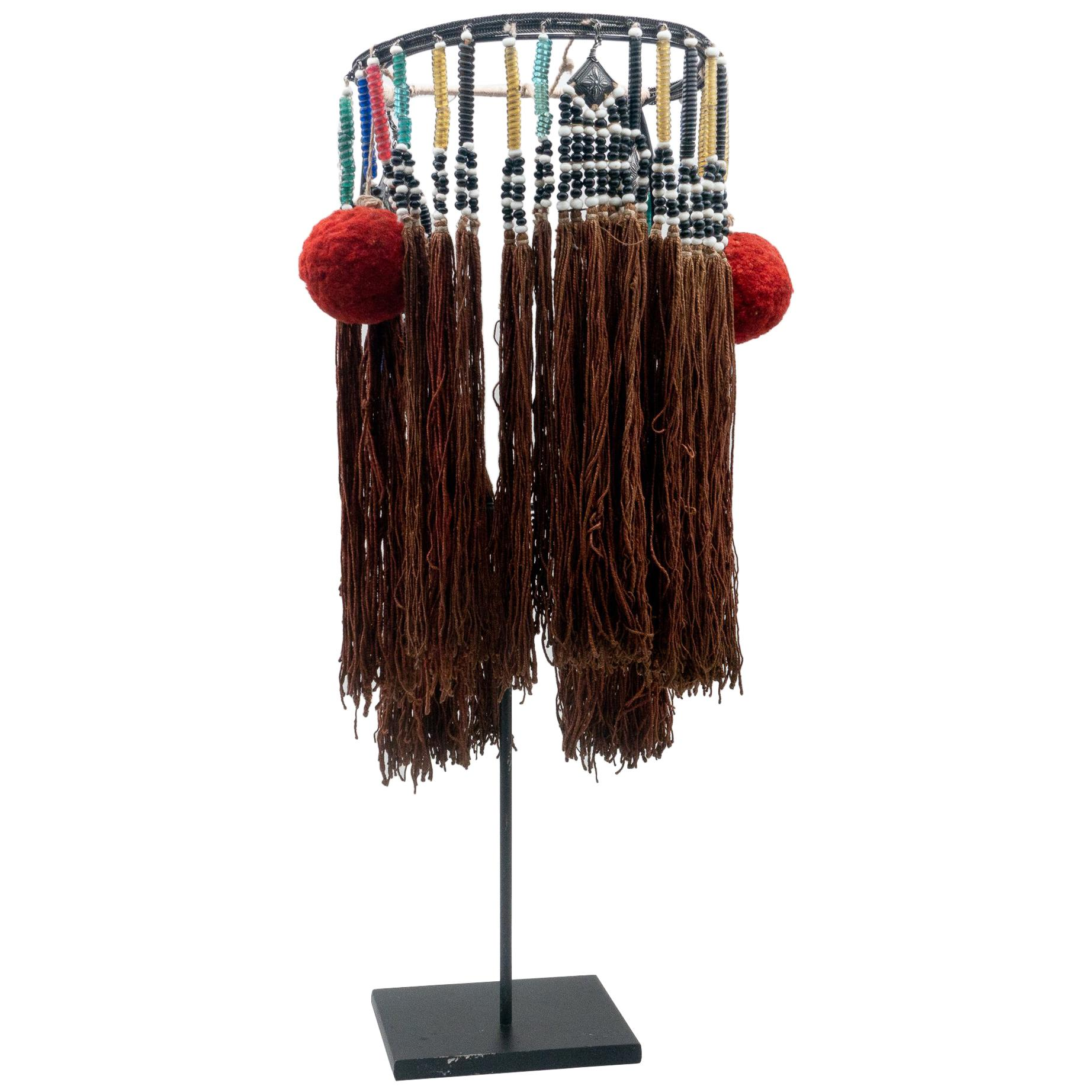 Miao Minority Tribe Headdress, Pom-Poms & Tassels