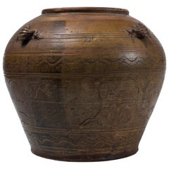 Ancient Terracotta Indochinese Vase, 18th Century