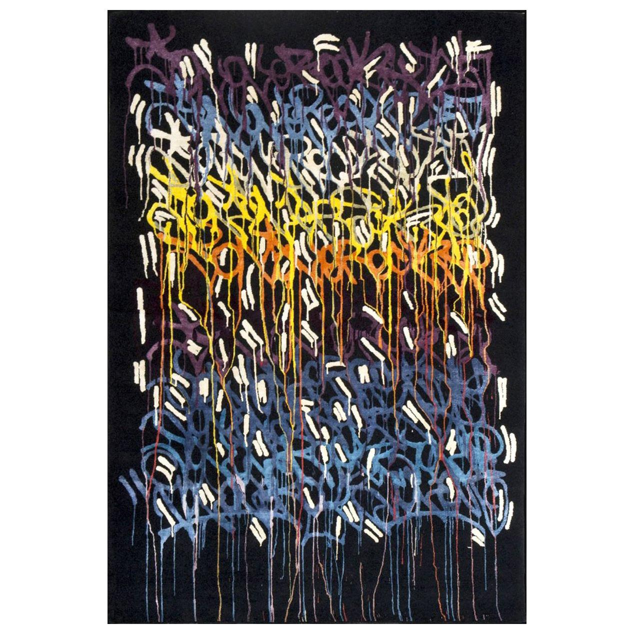 Boccara Limited Edition Hand Knotted Artistic Rug Designed by JonOne, Rainbow