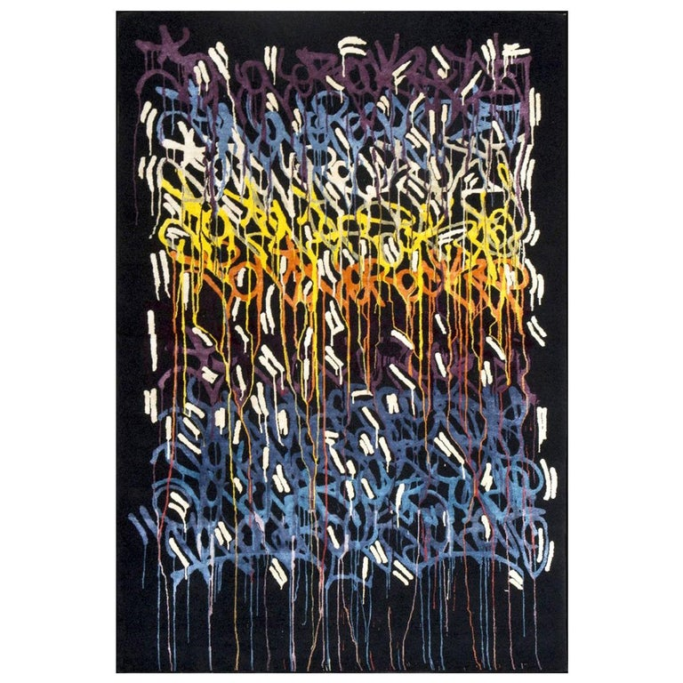 Boccara Limited Edition Hand Knotted Artistic Rug Designed by JonOne, Rainbow For Sale