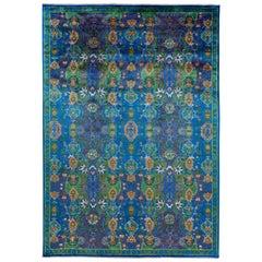 Contemporary Blue Silk Area Rug