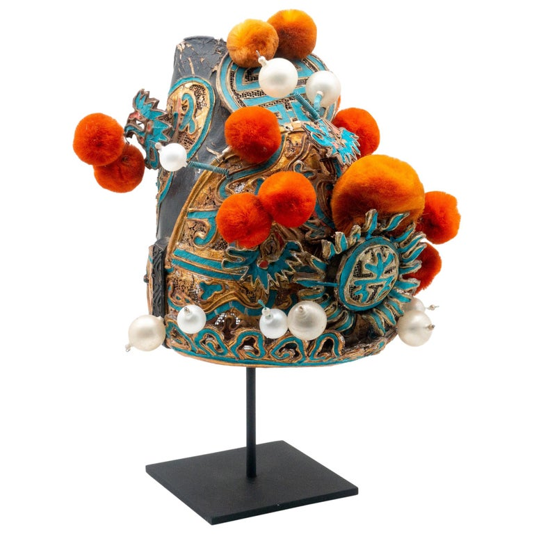 Vintage Chinese Opera Theatre Headdress, Early 20th Century For Sale