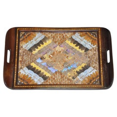 Butterfly Wing and Inlaid Wood Tray