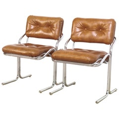 Midcentury Cal-Style Chrome and Brown Naugahyde Side Chairs