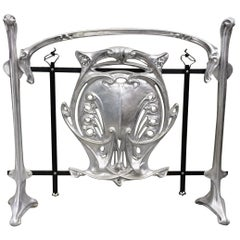 Hector Guimard Style Art Nouveau Aluminum and Iron Fireplace Screen