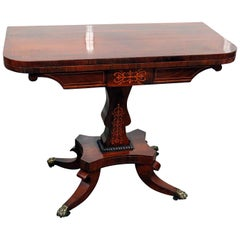 English Regency Rosewood Inlaid Leather Top Games Table W Brass Paw Feet C1840