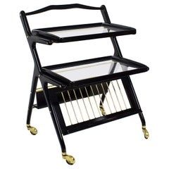 1960s Bar Cart with Magazine Rack by Cesare Lacca for Cassina, Italy