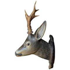 19th Century European Carved Wood Deer's Trophy Head