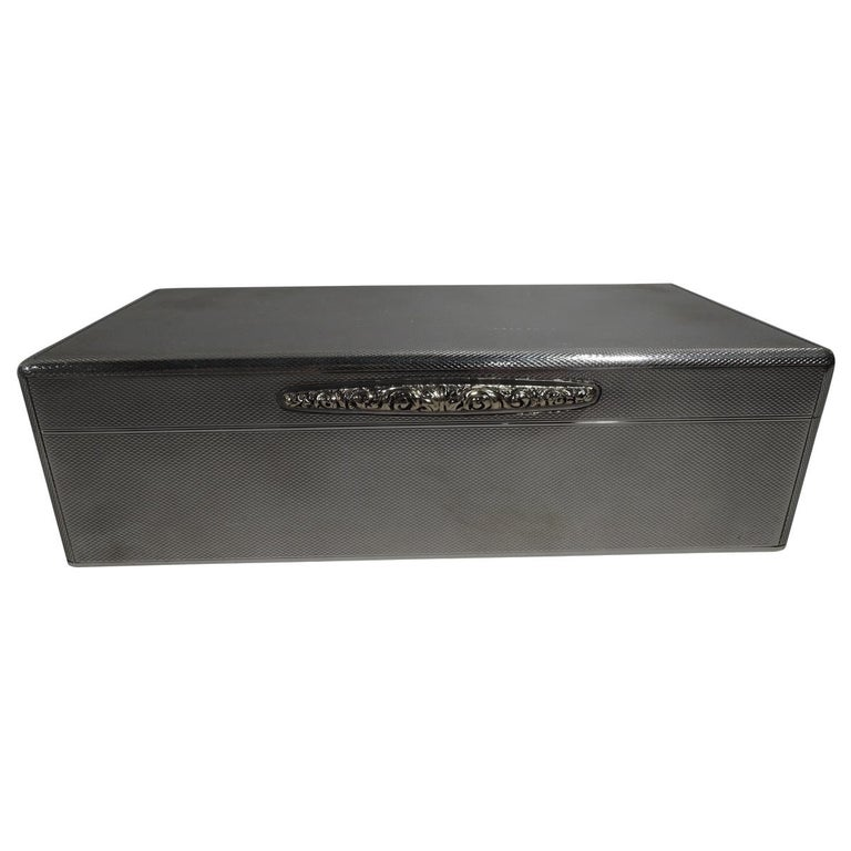 Striking English Art Deco Modern Sterling Silver Box For Sale