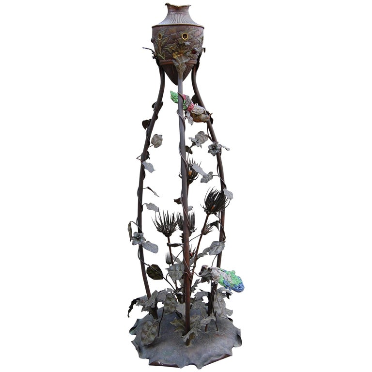 Rare French Art Nouveau Bronze Floor Lamp with Embossed Leaves, Flowers & Birds For Sale