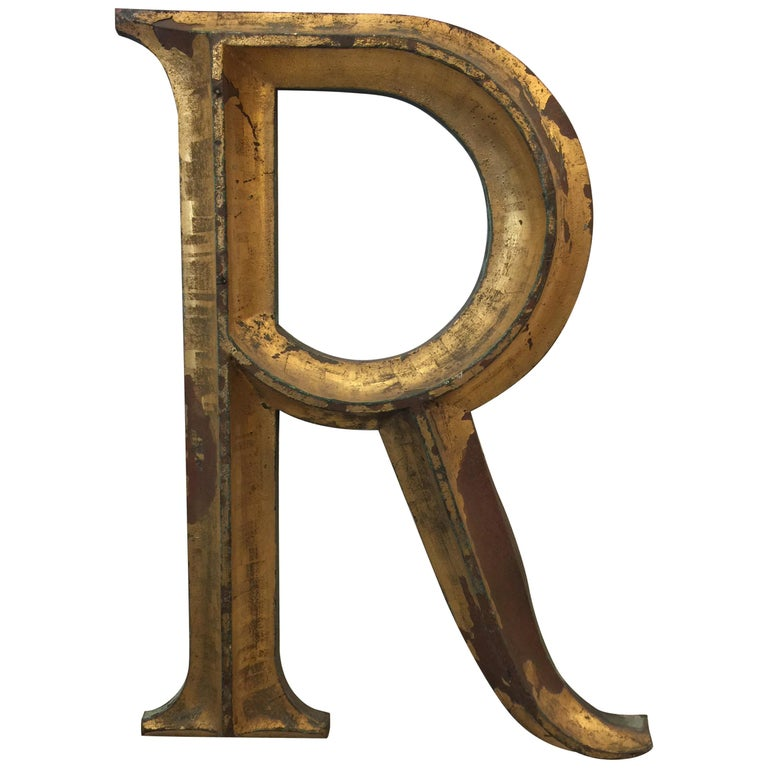 """19th Century Gilded Cast Bronze Letter """"R"""" For Sale"""