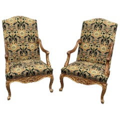 Pair of Antique Distressed Gilded Louis XVI Style Tapestry Armchairs