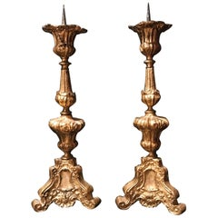 Pair of 17th Century Baroque Gilded Brass Pricket Candlesticks