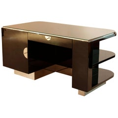 Strict Bauhaus Desk, Black Lacquer and Chrome, Germany, circa 1930
