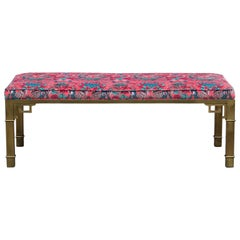 Modern Brass Bench with Animal Print Pink Velvet by Mastercraft