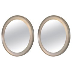 Pair of Round Mirrors by Sergio Mazza for Artemide with Steel Frame, Italy 1950s