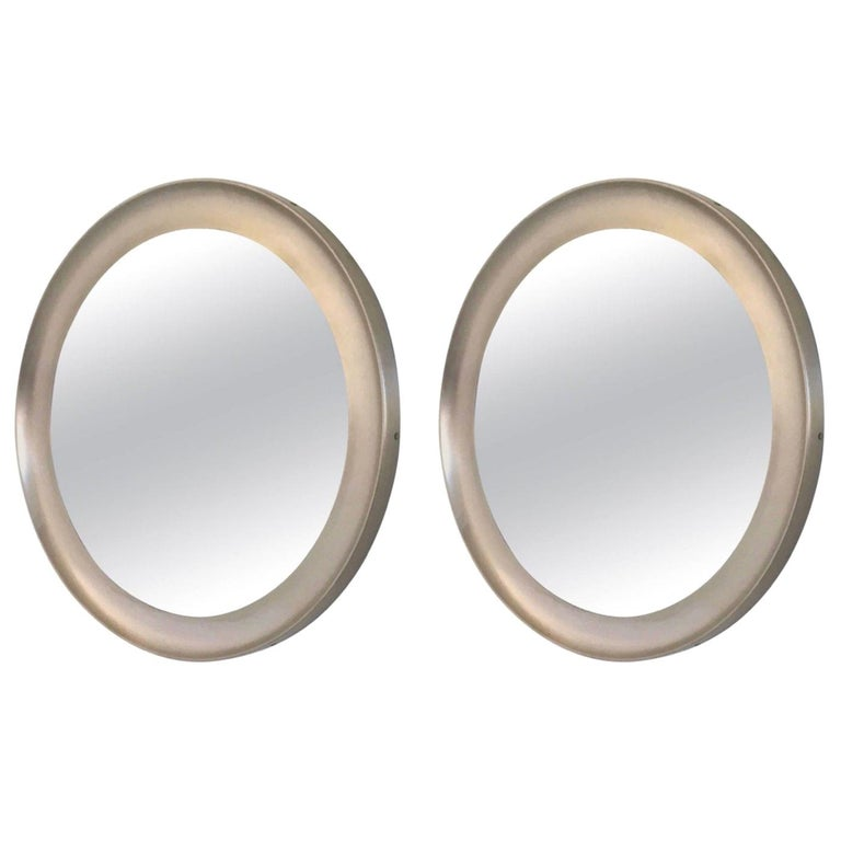 Pair of Round Mirrors by Sergio Mazza for Artemide with Steel Frame, Italy 1950s For Sale