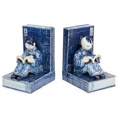Pair of Chinese Republic Porcelain Figural Bookends