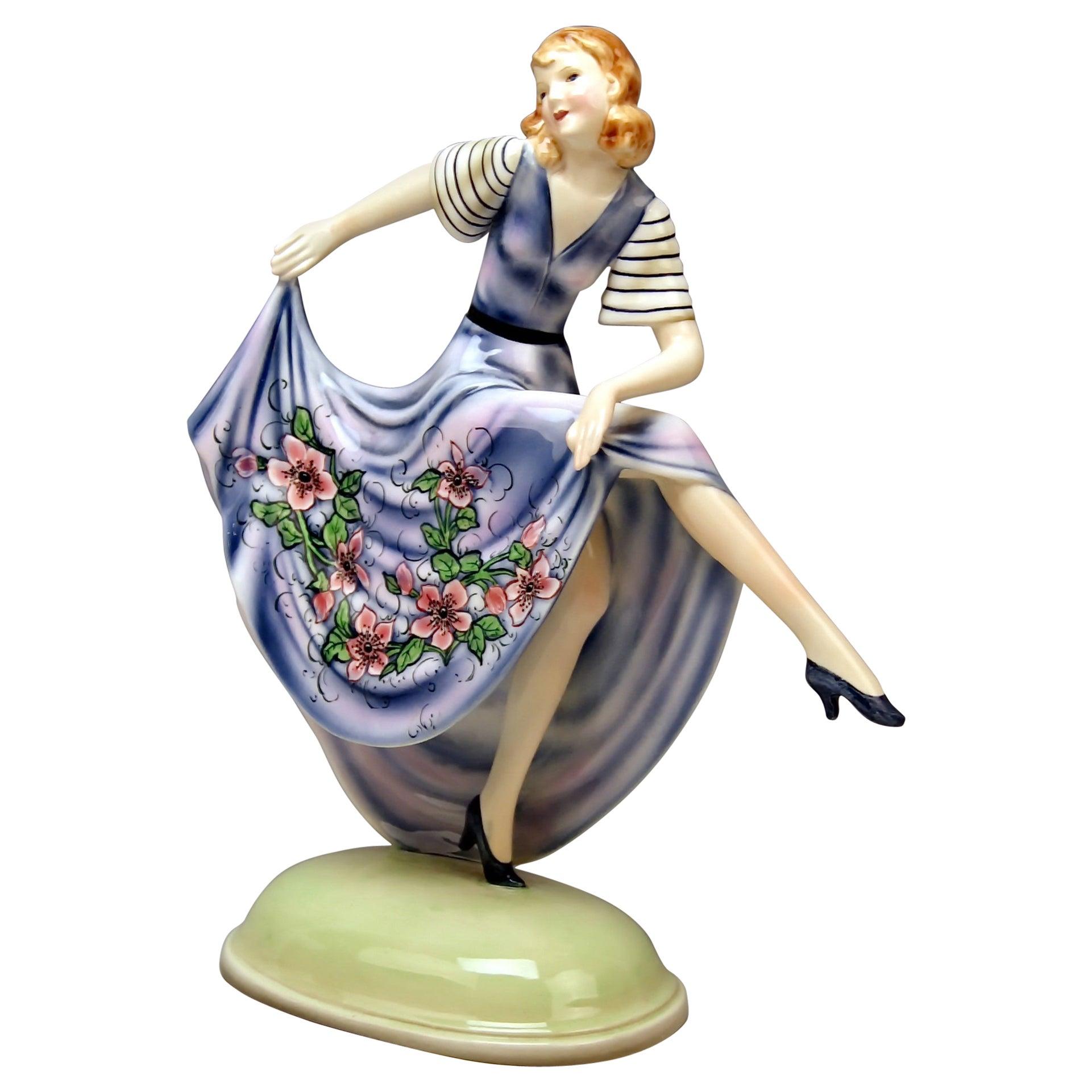 Goldscheider Vienna Lady Dancer Dress Flower Pattern by Dakon Model 6704