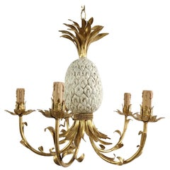 1950s Italian Pineapple Tole Chandelier