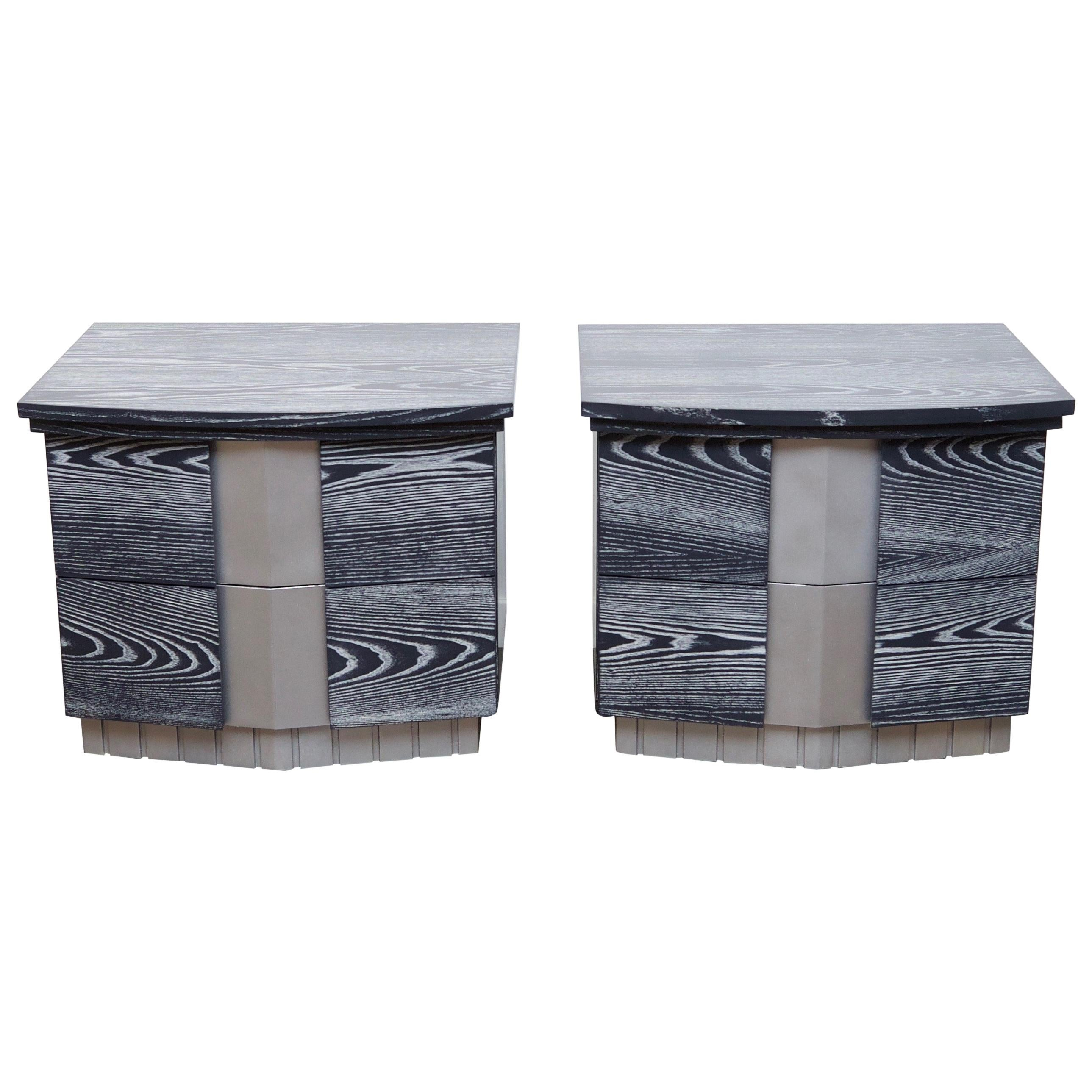Pair of Cerused End Tables
