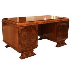 Art Deco Desk, Walnut Veneer, French Polish, Germany, circa 1930