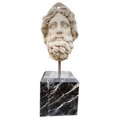 20th Century Marble Bust , Sculpture of the Roman God of The Water Neptune