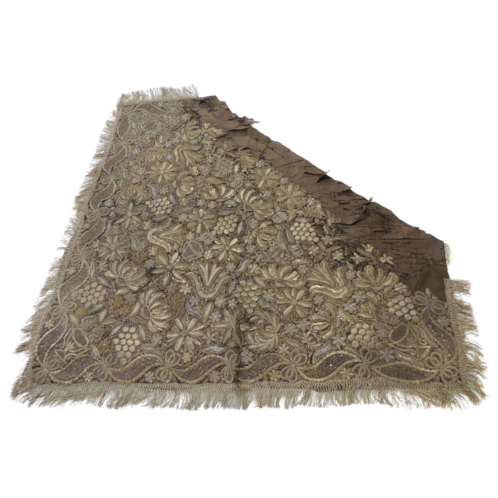18th Century Persian Ottoman Empire Heavy Gold Metallic Threads Textile