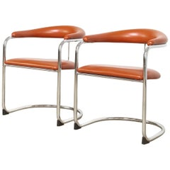 Mid Century Bauhaus Design Anton Lorenz Chrome and Vinyl Cantilever Chairs