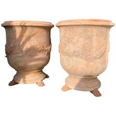 20th Century Large Handmade Terracotta Pots